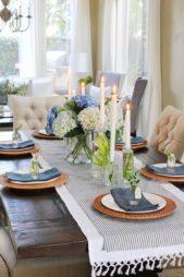 زيّني مائدة الطعام بالمفارش البيضاء والزرقاء واستعيني بالأطباق الزجاجية ويمكنك اضافة الشموع والازهار لزينة مميزة.