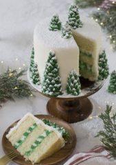 زيني قالب الحلوى لتقديمه على العشاء أو الغداء بالكريما البيضاء واشكال الاشجار الخضراء المغطاة بالثلج.