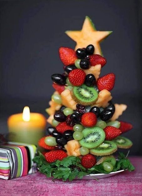 فكرة من وحي الاعياد لتقديم الفواكه الشهية حيث تصنعين منها شجرة العيد وتزينين اعلاها بنجمة صغيرة وتقدمينها على المائدة.