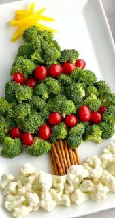 فكرة مبتكرة من وحي شجرة عيد الميلاد حيث تصنعينها من البروكولي الاخضر مع الطماطم الكرزية الحمراء وتستعينين بالاعواد المالحة لتشكيل جذعها.