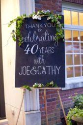 يمكنك وضع لافتة كبيرة عند مدخل المنزل أو المطعم او القاعة حيث تقيمين حفل عيد الزواج وترحبين من خلالها بالمدعوين المشاركين في هذه المناسبة.