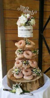 ويمكن لحلوى الدونات الشهية أن تكون بديلاً مثالياً وشهياً لقالب الحلوى الاعتيادي في حفل زفافك، فوزّعيها على طبقات زجاجية شفافة وانشري بينها أغصان زهرة الجيبسوفيل الناعمة.