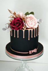 فكرة مبتكرة لتزيين قالب الحلوى في المناسبات السارة بعجينة السكر لصنع شكل قبعة سوداء كبيرة مزينة عند الاعلى بالازها الملوّنة.