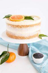لزينة بسيطة لكيك البرتقال يمكنك تحضيره من عصير البرتقال وتزيينه بالكريما البيضاء الخفيفة وتزيين اعلاه بشريحة برتقال مع اوراقها الخضراء.