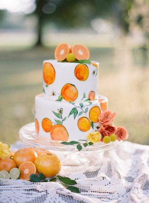 ما رأيك باختيار الكريما البيضاء لتغليف كيكة البرتقال وتزيينها برسومات للبرتقال مع توزيع بعض الشرائح الفعلية أعلى الكيك لزينة أكثر ابتكاراً؟