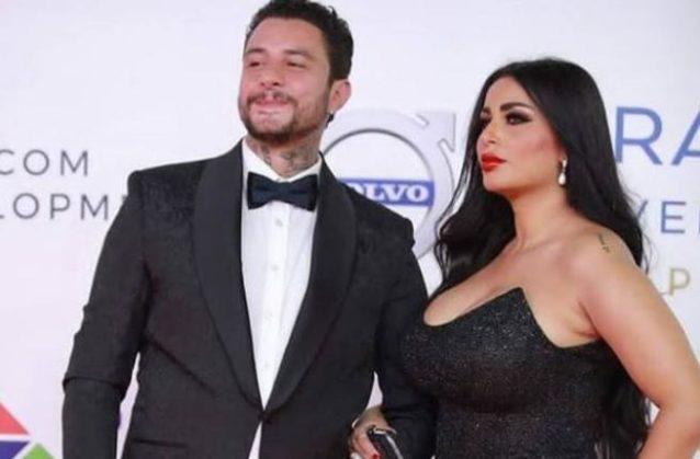 النجم أحمد الفيشاوي في صورة رائعة تجمعه مع زوجته ندى كامل في احدى المناسبات الخاصة وقد بدت جميلة بالفستان الاسود.